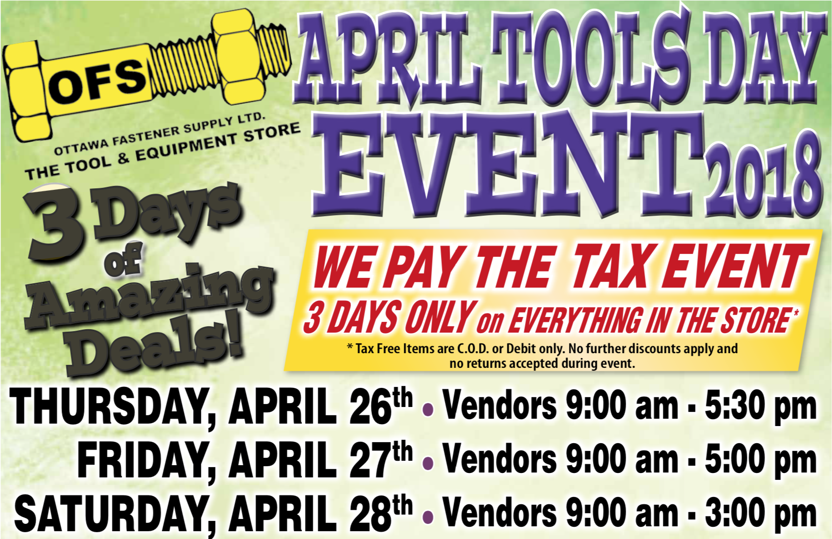 The Tool Store >> 2018 April Tools Day Event Press Release Ofs