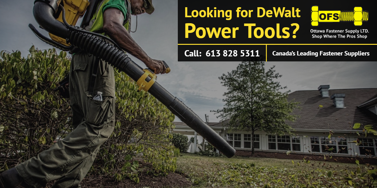 Man blowing leaves with DeWalt leaf blower - Ottawa Fastener Supply