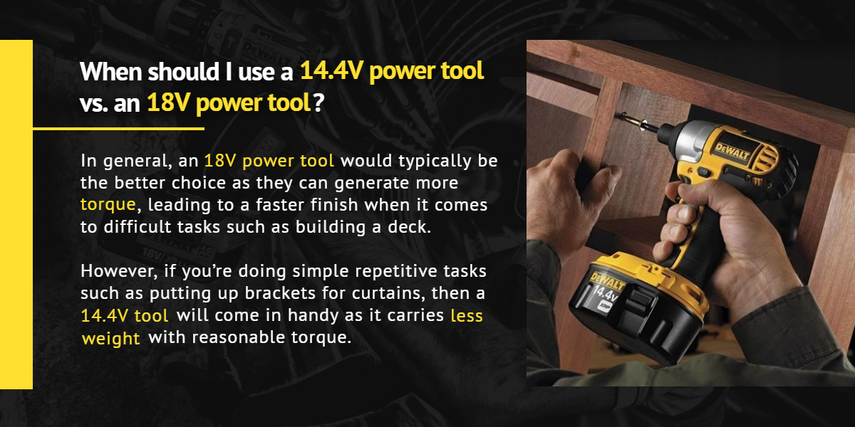 When should I use a 14.4V power tool vs. an 18V power tool? | Ottawa Fastener Supply
