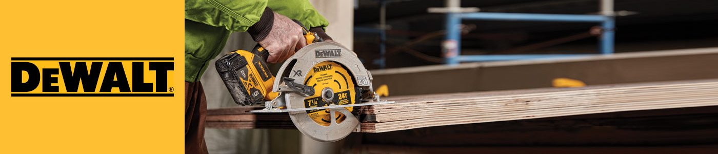 DeWalt cordless circular saw cutting into wooden slab