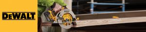 DeWalt cordless circular saw cutting into wooden slab